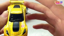 HOT WHEELS Toy Car: Corvette C7.R vs TOMICA Fiat 500 | Kids Cars Toys Videos HD Collection