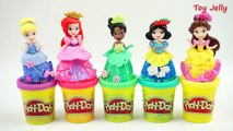 Glitter Playdough Modelling Clay and Cooking Microwave Oven Playset with Disney Princess Kingdom