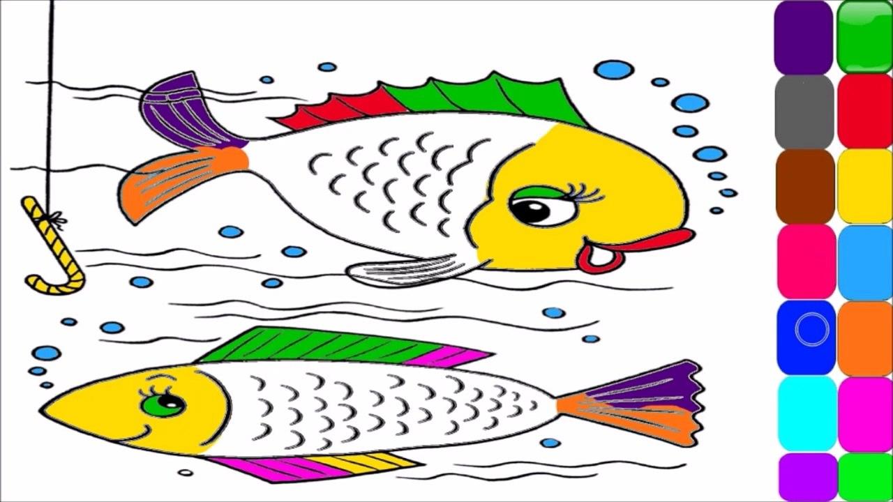 Cocuklar Icin Renk Ogretmek Ve Renkli Balik Boyama Sayfasi Video