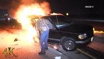 Accident impressionnant et Explosion d'une voiture sur l'autoroute filmée de près !