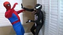 SPIDERMAN VS VENOM FARTS! SUPERHERO FUN IN REAL LIFE MOVIE IRL Battle