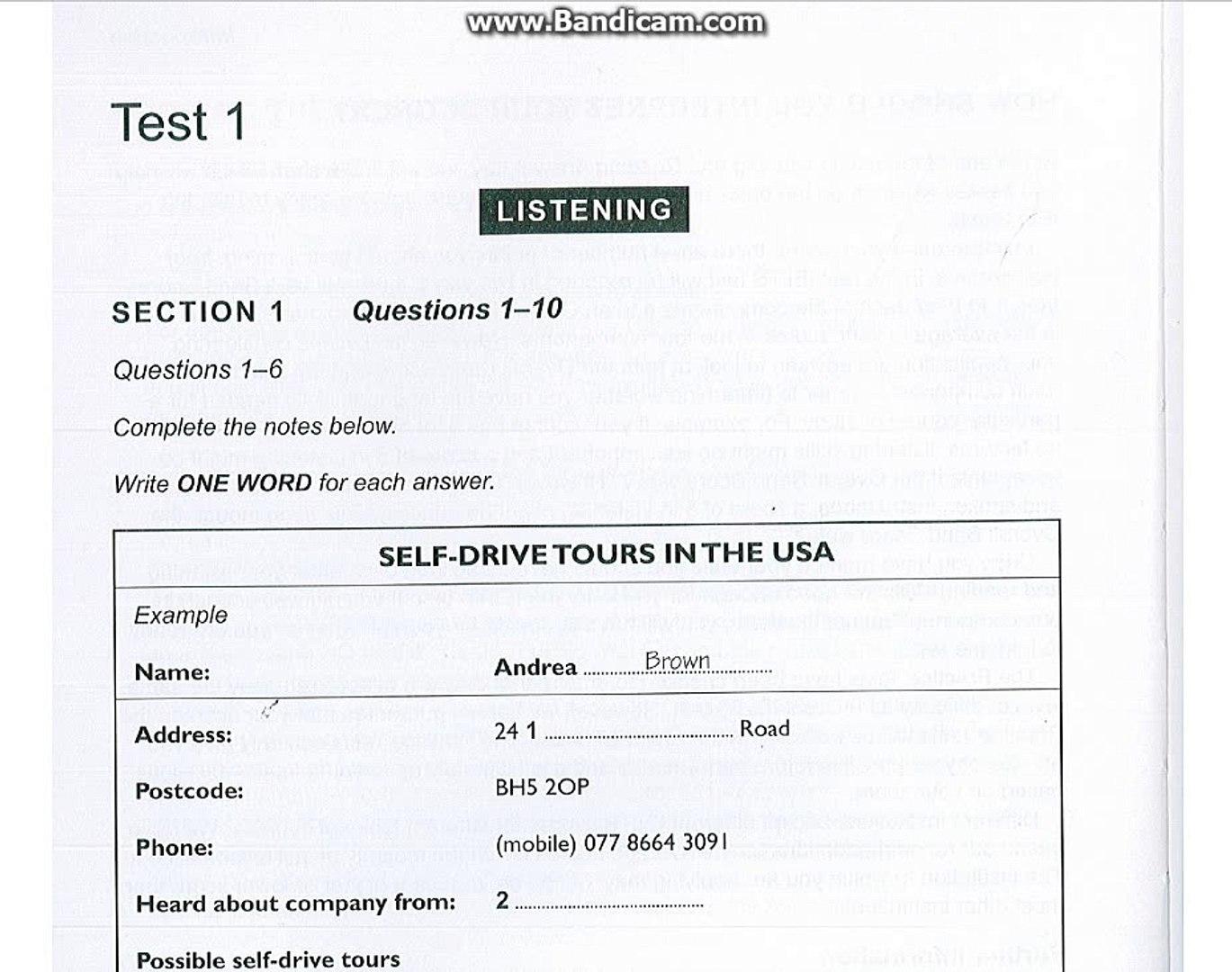 IELTS 10 Test 1 listening