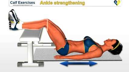 Calf exercises  ankle strengthening exercise on Bench (calf, muscle, leg)