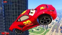 Disney cars and spiderman Dinoco King 43 and Lightning McQueen Disney cars jumping Happiness Ramp