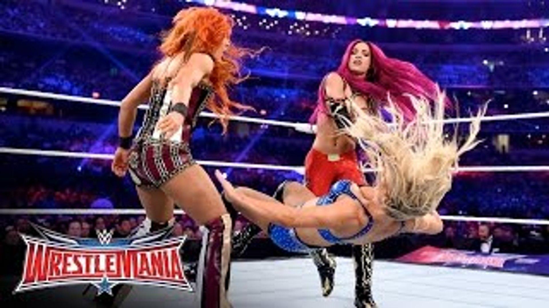 Becky Lynch vs. Sasha Banks vs. Charlotte - WWE Women's Title Match- WrestleMania 32 on WWE Net