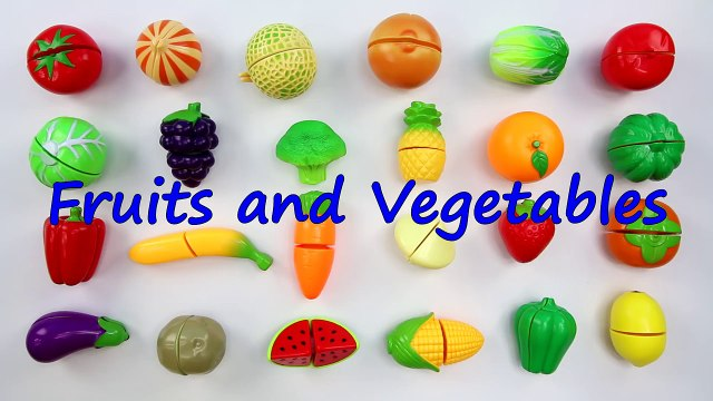 LEARN FRUITS and VEGETABLES NAMES with Velcro Cutting Toy Set - Kids Toddlers ESL