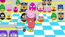 New Peppa Pig Shopping For Kids Surprise Eggs | Pink Spiderman Batman Pj Masks Paw Patrol #Animation