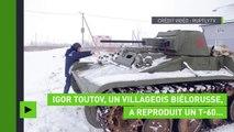 Biélorussie : à partir de déchets métalliques, un villageois reproduit un char soviétique