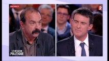 Les retrouvailles glaciales entre Manuel Valls et Philippe Martinez sur le plateau de l'Émission politique