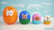 Play Doh BUBBLE GUPPIES SURPRISE EGGS Stacking Nesting Cups Pocoyo Disney Frozen