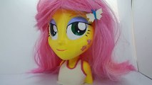 Fluttershy styling head custom painting . My Little Pony 3d printed Barbie Styling Head Play Doh HD