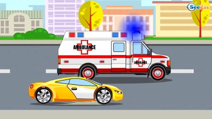 The Blue Police Car and The Tow Truck - Cars & Trucks Cartoons - World of Cars for children