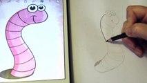 Как нарисовать насекомое для детей. Червяк How to draw insect for children. How to draw a Worm