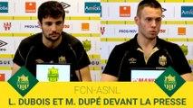 Léo Dubois et Maxime Dupé devant la presse avant FCN-ASNL