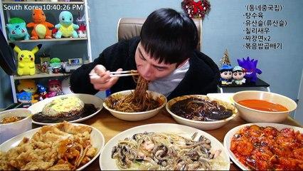 BANZZ▼Black-bean-sauce noodles, Yusansul, chili shrimp Mukbang (Eating Show-Social Eating) 밴쯔▼ 중국집 짜장면, 유산슬, 칠리새우등 먹방!