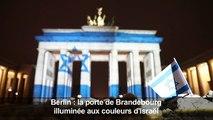 La Porte de Brandebourg illuminée aux couleurs d'Israël