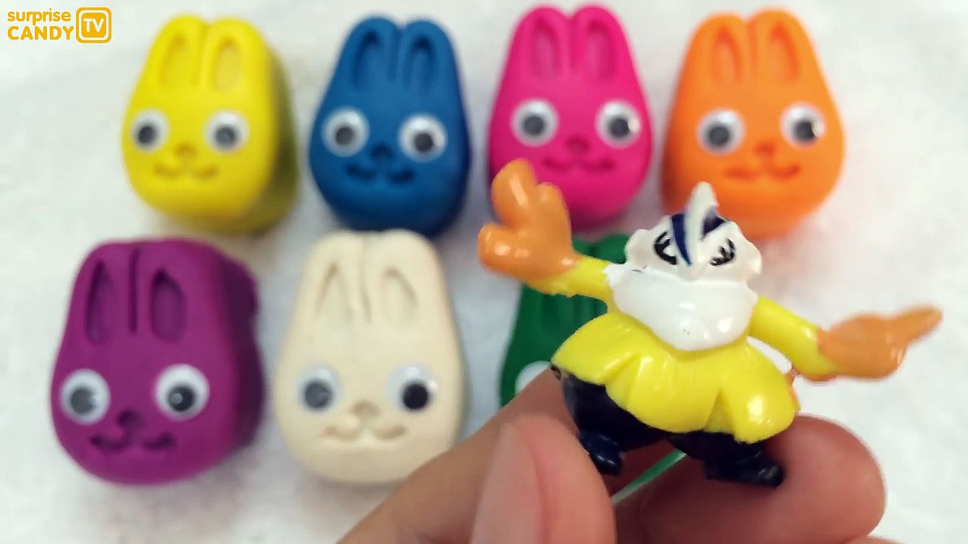 Learn Colors and Surprise Playdough Bunny Face Education for Kids