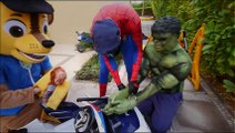 Police Spiderman ARREST Hulk & Bad Baby! w/ Toys Car Moto Farting Movie Paw Patrol Chase Real Life