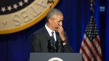 Les larmes de Barack Obama pendant son discours d'adieux
