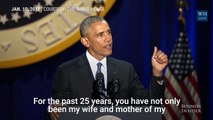 Watch President Obama tear up while addressing Michelle in his farewell speech, Michelle gets emotional too