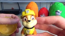 PAW PATROL Nickelodeon Play Doh Surprise Eggs Toys with Marshall, Rocky, Rubble , Chase, Zuma