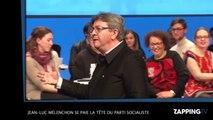 Jean-Luc Mélenchon se présente, avec Emmanuel Macron, comme ''le casse-noix'' du PS