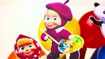 Learn Colors for Kids Body Paint Balloon Pop Show Finger Family Nursery Rhymes Masha and the Bear