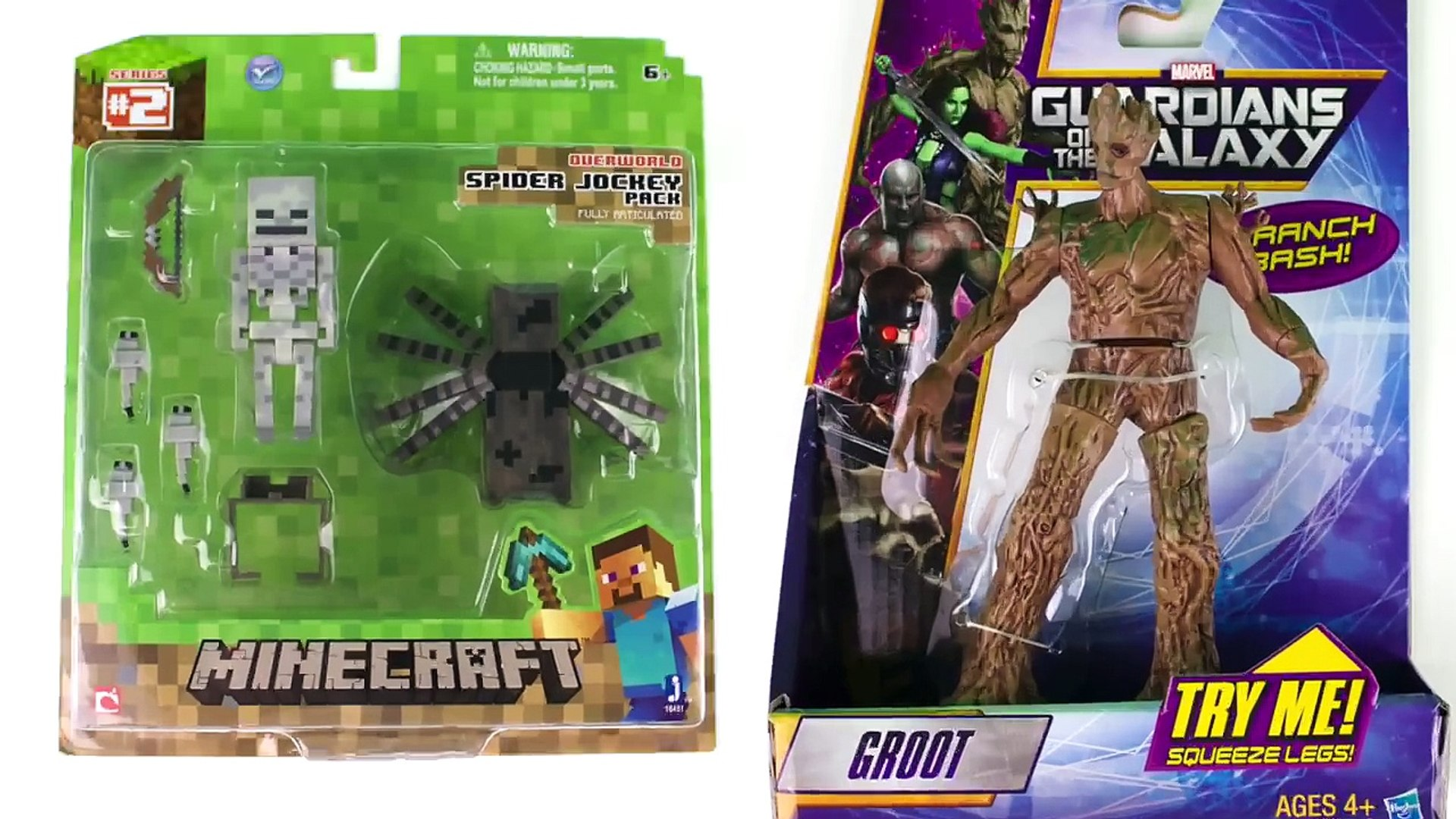 Unboxing The Minecraft Spider Jockey Pack and Groot!