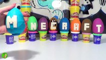 9 Play Doh Surprise Eggs Minecraft Easter Eggs with Minecraft Lego Mini Figures Learn ABC Playdough