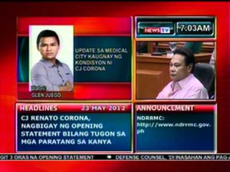 DB: Update sa Medical city kaugnay ng kondisyon ni CJ Corona