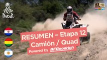 Resumen de la Etapa 12 - Quad/Camión - (Río Cuarto / Buenos Aires) - Dakar 2017