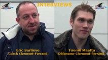 Hockey sur glace D1 - 2017-01-14 Interviews Eric Sarliève - Tuomo Maatta Clermont-Ferrand