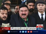 Sheikh Rasheed talks to media outside Supreme court