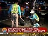 UB: Ilang bahagi ng EDSA at North Ave., binaha dahil sa flushing ng Manila Water