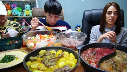 BANZZ▼Israelite Food Mukbang cooked by Israeli Fan!! (Eating Show-Social Eating)밴쯔▼ 이스라엘팬분이 해주신 이스라엘 요리 먹방! with. 진형군