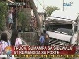 UB: Truck, sumampa sa sidewalk at bumangga sa poste sa Katipunan Ave.