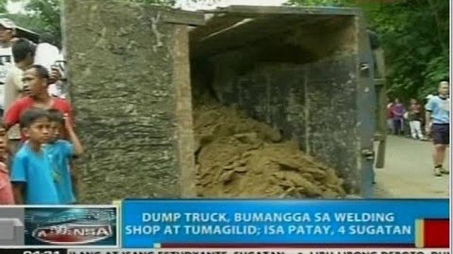BP: Dump truck, bumangga sa welding shop at tumagilid; isa patay, 4 sugatan