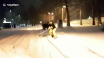 Snowboarding on the snow-filled streets of Bulgaria