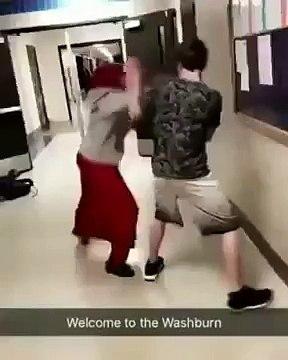 Une étudiante voilée en  train de boxer son agresseur ? Rien de tel…