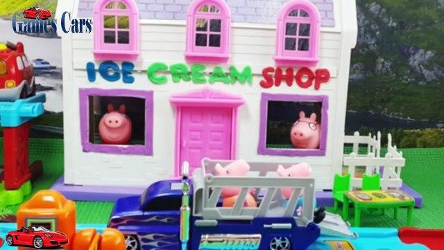 Jada Stephens Cars Peppa Pig Ice Cream Shop Full Episodes   Peppa Pig Ice cream surprise