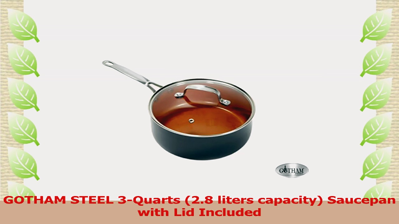 GOTHAM STEEL 3Quarts 28 liters capacity Saucepan with Lid Included 386ab8bb