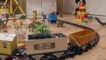 Classical Train Toy Video for Children with Dinosaur Toys Tyrannosaurus Rex and Triceratops Battle