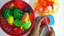 Learn names of fruits and vegetables with toy velcro cutting fruits and vegetables and foods