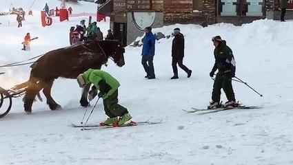 Un skieur tente de remonter sur ses skis après avoir trop bu