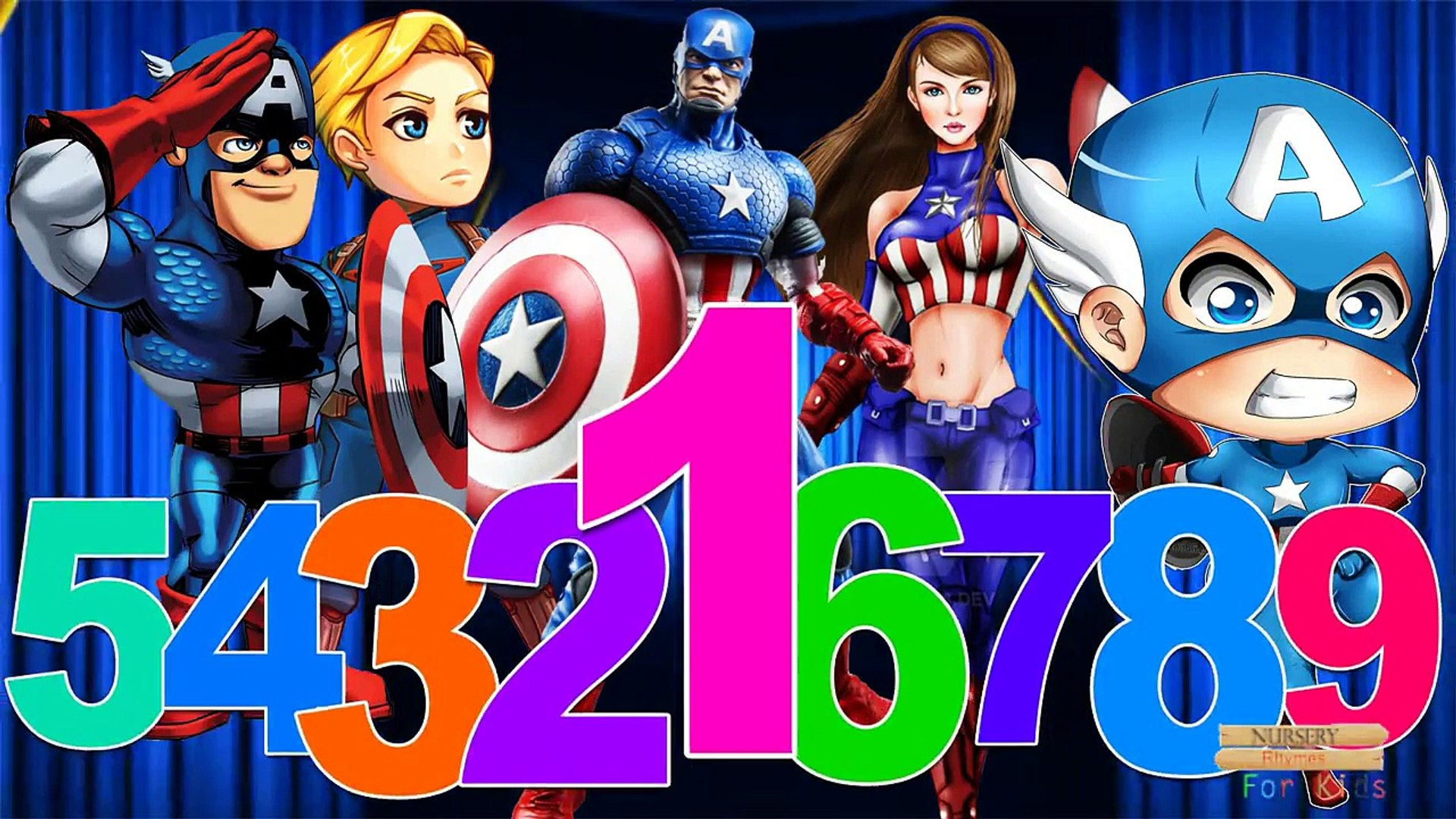 Learn 123 Song By Captain America | 123 Numbers Children Nursery Rhymes | 123 Songs For Kids