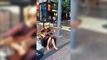 Girl street performer slams Bass like a pro