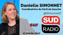 """Danielle Simonnet : """"Macron est le VRP d'Uber, l'ultra libéral, très proche de F. Fillon"""" - Sud Radio -17/01/2017"""