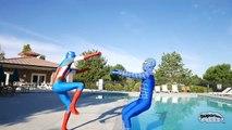 Удивительные синий Человек-Паук против Капитана Америки против ниндзя Черепаха против Венома   реальной жизни Супергеройское кино!