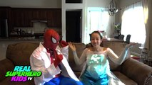 BABY SPIDEY vs BABY PINK SPIDERGIRL vs Spiderman vs Pregnant Frozen Elsa Superhero Fun IRL