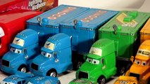 Disney Pixar Cars Mack Hauler and Chick Hicks Hauler and The King Hauler and more with Lightning McQ